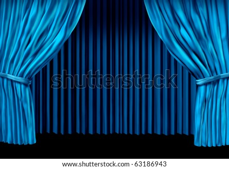 blue drapes velvet curtain stage theater presentation