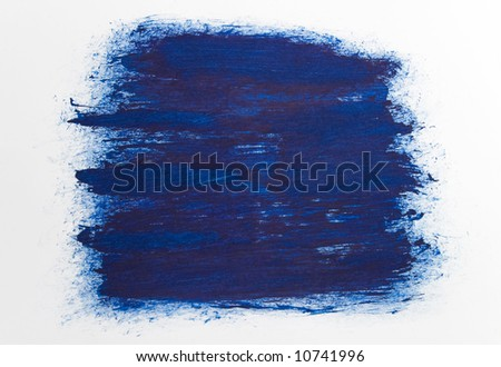 blue draw texture painting on white canvas