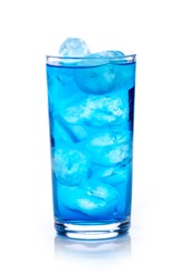 blue drink with ice cubes on white background, isolated