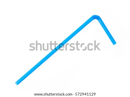 blue drinking straw isolated on white background. #572941129