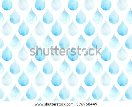 Blue drops watercolor seamless geometric pattern.