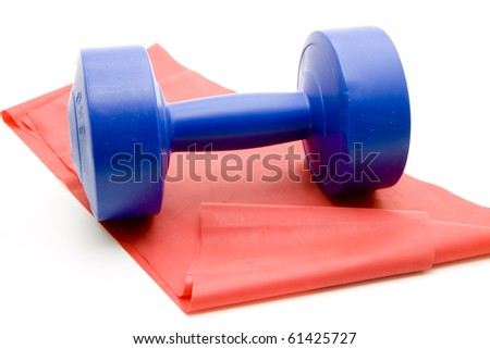Blue dumbbell with fitness rubber