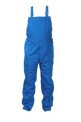 Blue dungarees -protective clothing. Isolated on white.