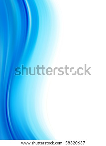 Blue dynamic wave over white background, Vertical illustration