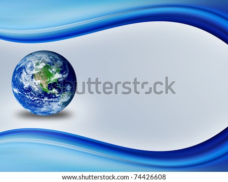 Blue dynamic wave with the world inside over white background
