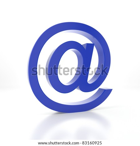 Blue e-mail symbol on a white background