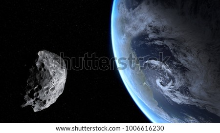 Photo of  Blue Earth and asteroid. Dark background. Elements of this image furnished by NASA