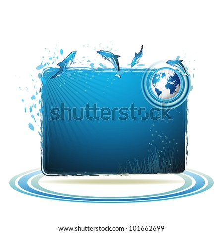 Blue Earth background with dolphins - stock photo