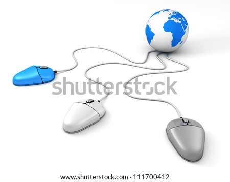 Blue Earth Globe connected with three different computer mouses