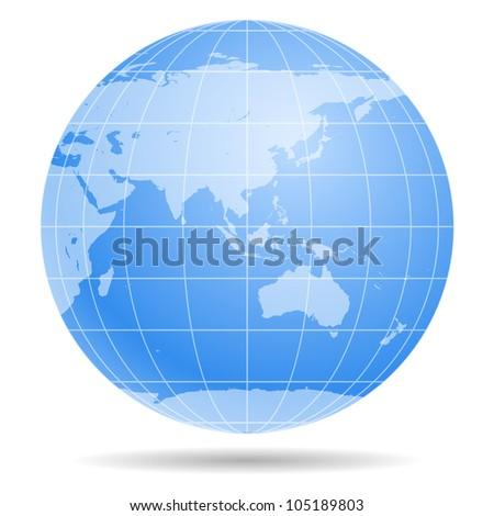 Blue Earth globe isolated on white background