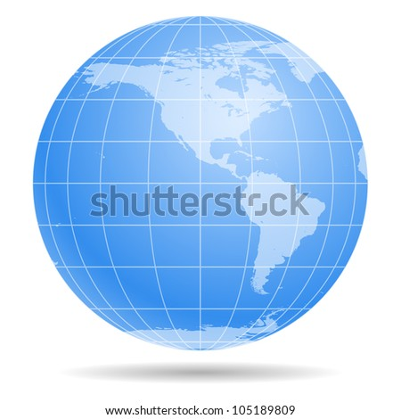 Blue Earth globe isolated on white background