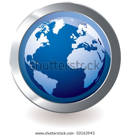 Blue earth globe with silver metal icon and drop shadow
