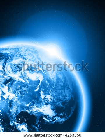 Blue earth in outer space