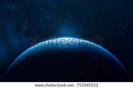 Blue Earth in the space. Colorful art. Solar system. Blue gradient. Space wallpaper. Elements of this image furnished by NASA #755049253