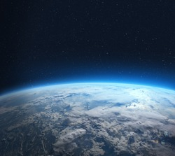 Blue Earth in the space. View of planet Earth from space. Elements of this image furnished by NASA.