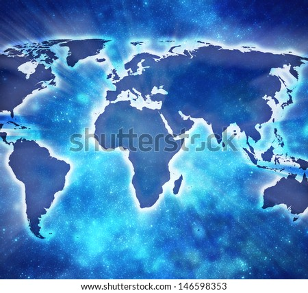 blue earth map with stars