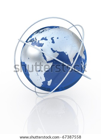 Blue earth  the communication symbol. Europe.