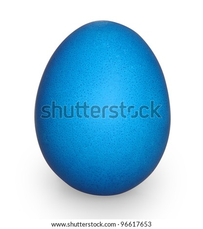 blue easter egg isolated on white with clipping path