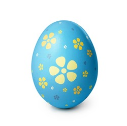 Blue easter egg with yellow flower pattern isolated on white background. Clipping path included