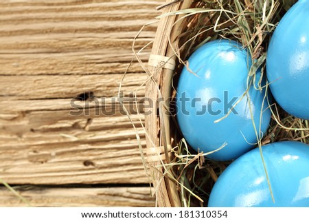 Stock Photo blue easter fresh eggs and grass
