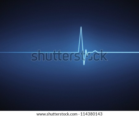 Blue ECG heartbeat on black background