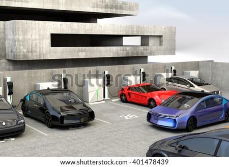 blue electric car looking for charge point in parking lot 3d rendering image in original design. Black Bedroom Furniture Sets. Home Design Ideas