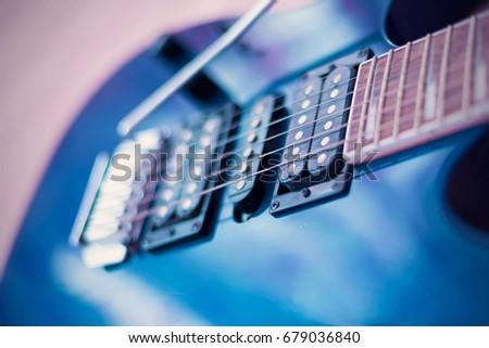 Blue electric guitar close-up #679036840