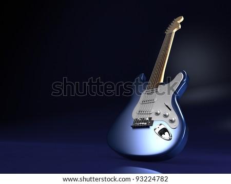 Blue electric guitar on black background
