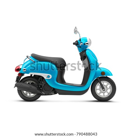 Blue Electric Retro Motor Scooter Isolated on White Background. Side View of Vintage Motorcycle with Step-Through Frame and Platform. Modern Personal Transport. Classic Vehicle