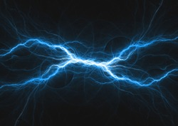 Blue electrical lightning, abstract plasma background
