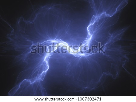 Blue electrical lightning bolt, plasma power background