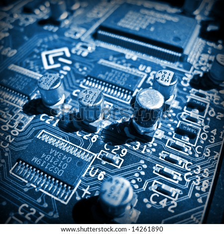 Blue Electronic Circuit Close-Up. Macro Background Stock Photo ...