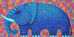 Blue Elephant 2008. Original acrylic painting on canvas.