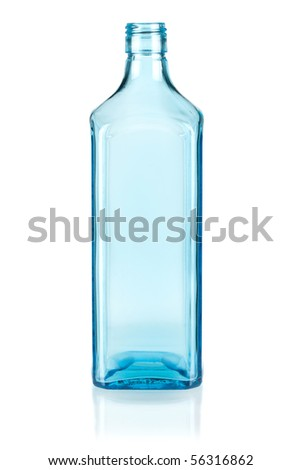 Stock Photo Blue empty bottle. Isolated on white background