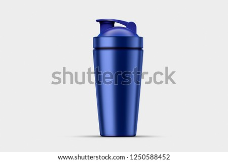 Blue empty glossy metal Shaker for sports nutrition closeup isolated on soft gray background. Design template of packaging mock-up for graphics. Front view.High resolution photo. #1250588452