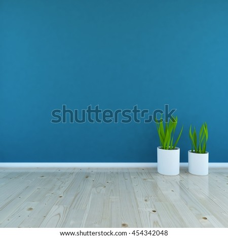 blue empty interior with vases. 3d illustration - Shutterstock ID 454342048
