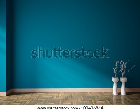blue empty interior with white vases and branches