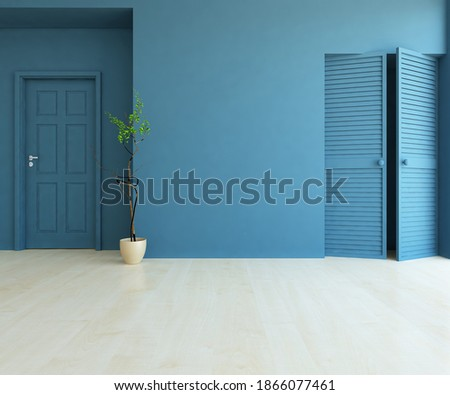 Blue empty minimalist room interior with vases on a wooden floor, decor on a large wall, white landscape in window. Background interior. Home nordic interior. 3D illustration Foto d'archivio ©
