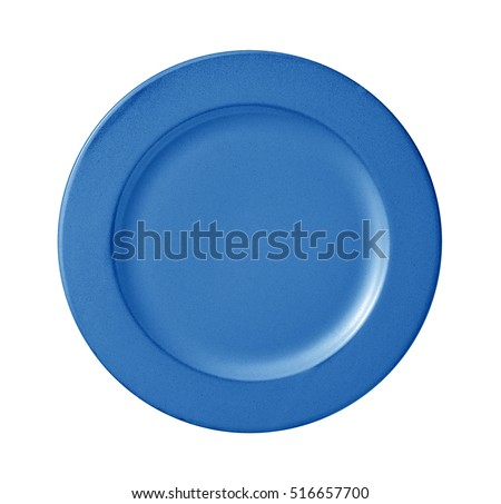 blue empty plate isolated