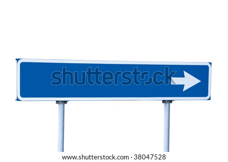 Blue Empty Road Name Arrow Sign, Isolated, Large Detailed Roadside Signage, Blank Copy Space Background