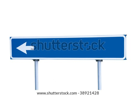 Blue Empty Road Name Sign, Isolated, White Arrow, Large Detailed Roadside Signage, Blank Copy Space Background