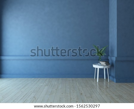 Blue empty room interior with wooden floor, large wall, white landscape in window. Background interior. Home nordic interior. 3D illustration