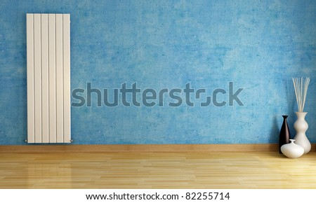Blue empty room with radiator - rendering-exclusive design