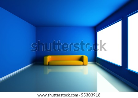 Blue empty room with yellow couch stock photo 55303918 shutterstock