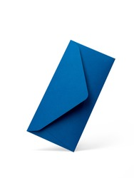 Blue envelope on a white background with an opening side