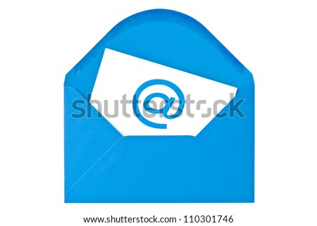 Blue envelope with email symbol. Isolated on white background