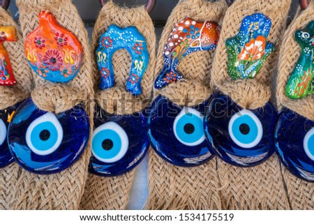 Blue evil eye / (nazar boncugu), Turkish symbols. Protective lucky charms