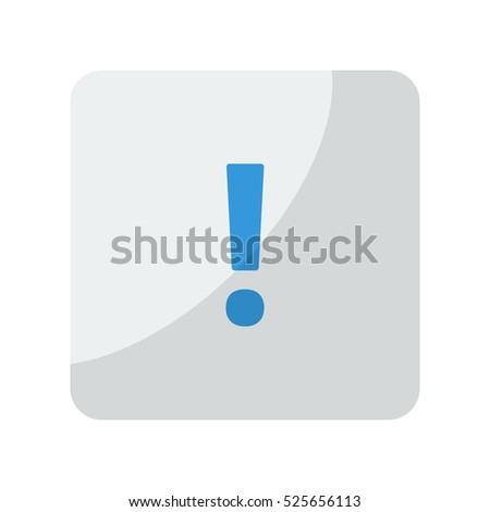 Blue Exclamation Mark icon on grey rounded square button on white