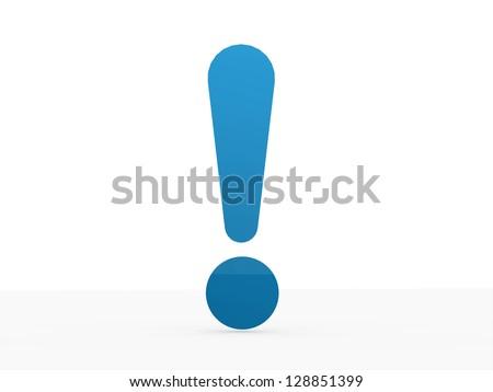 Blue exclamation mark isolated on white background