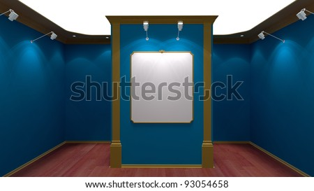 blue exhibition space
